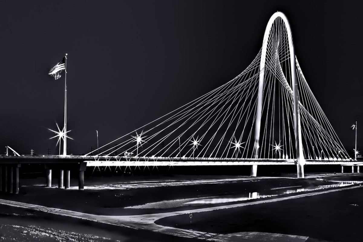 A bridge at night in Dallas, Texas.