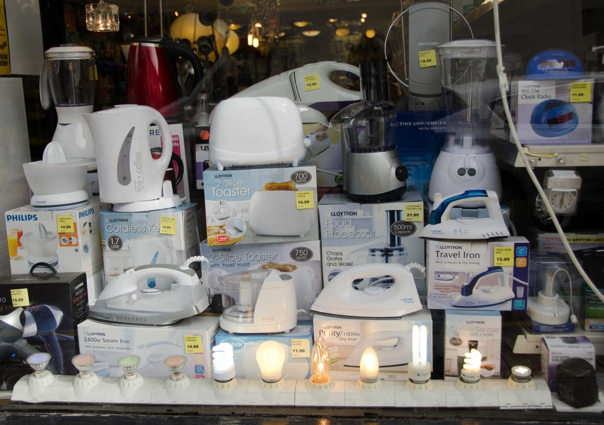 Electrics shops get away with simply showing their products lined up - you don't necessarily need creativity to sell a basic kettle or light bulb.