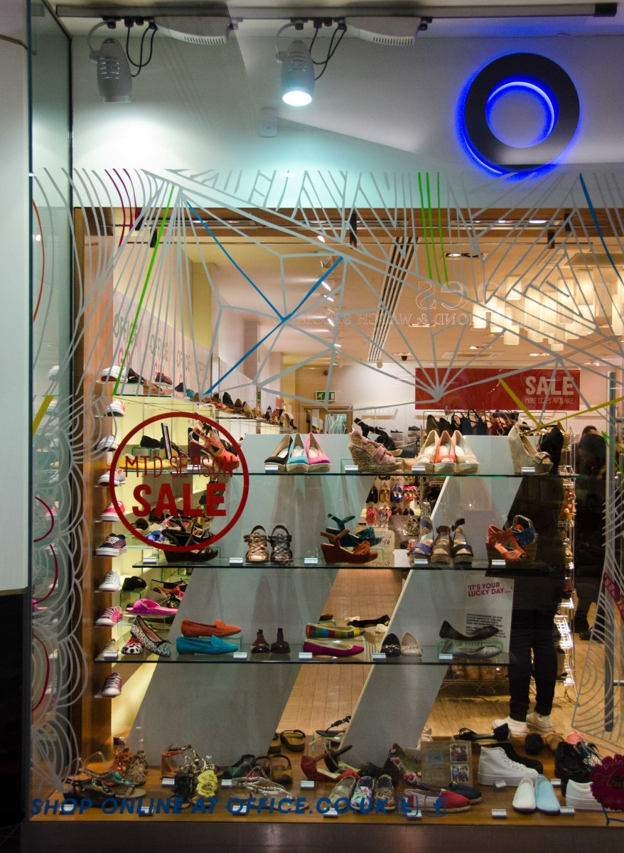 The Products have been placed at eye level and the window display also serves as a shelf inside the shop...
