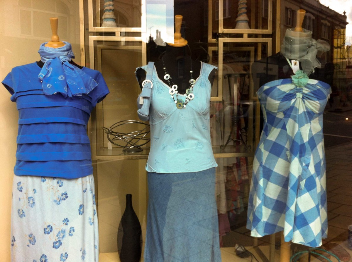 A simple, blue theme seen in a charity shop window..