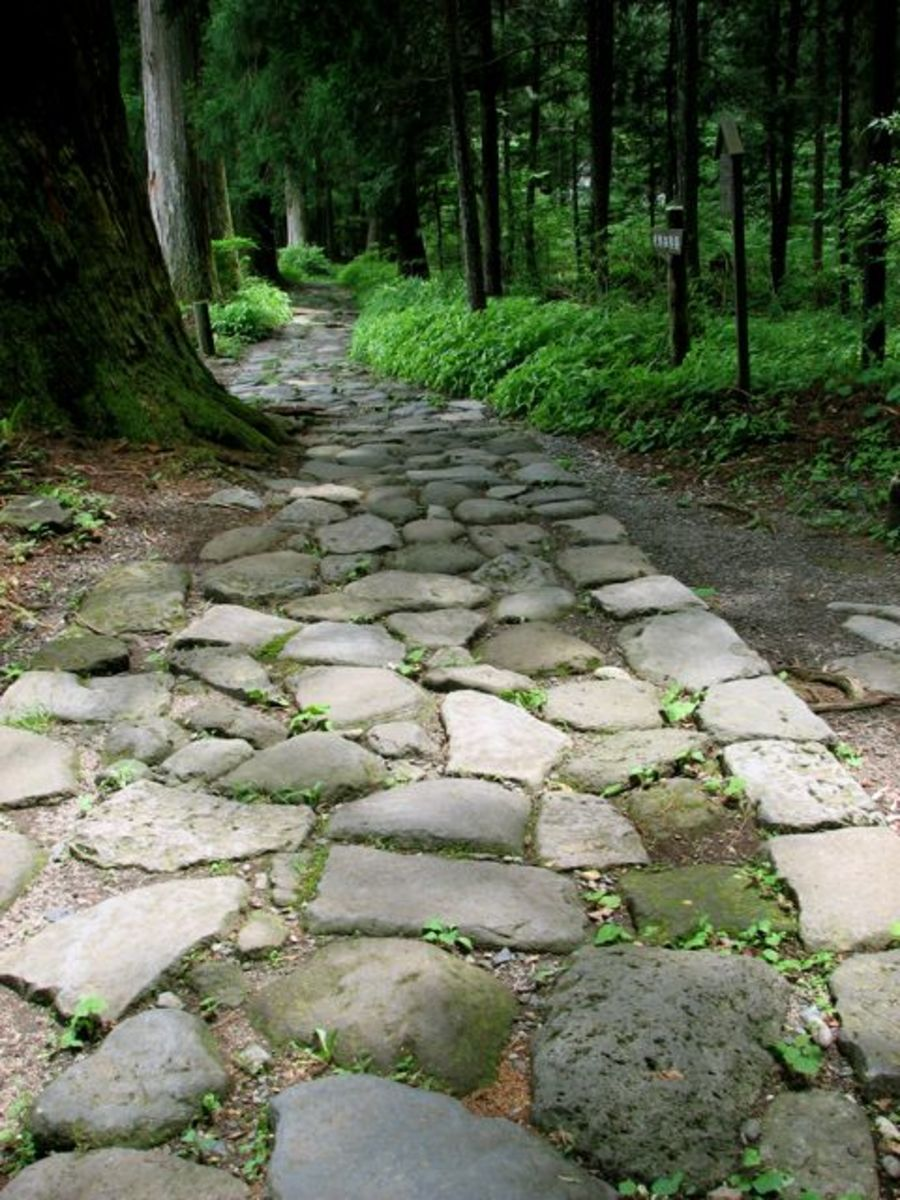 The cobblestone path leading to Shiraito falls and Takinoo shrine.