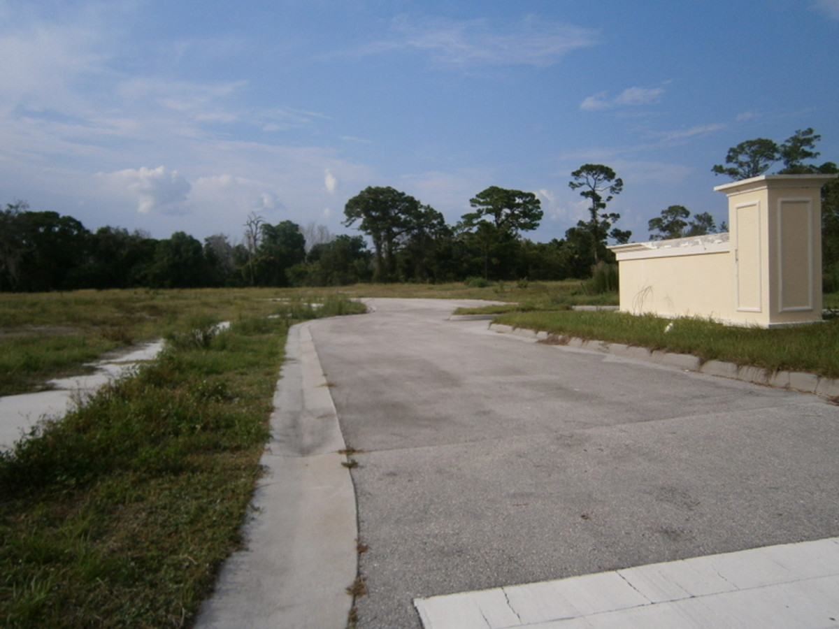 This was to be a large housing development.  It now sits deserted.