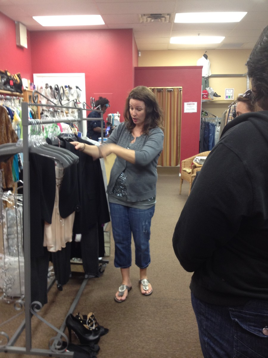 Julie discusses proper business attire with the group.