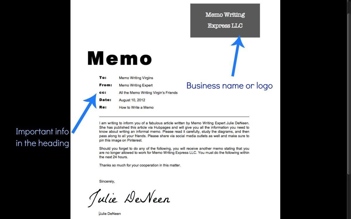 memo header
