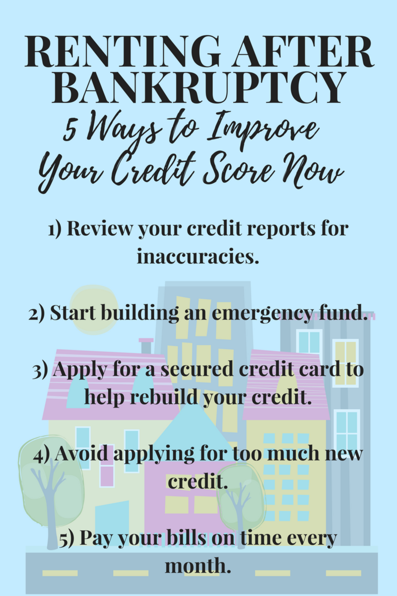 Here are a few tips to help get your credit back on track so it's easier to rent after bankruptcy.