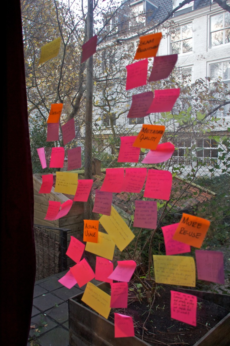 Brainstorming with a wall and sticky notes