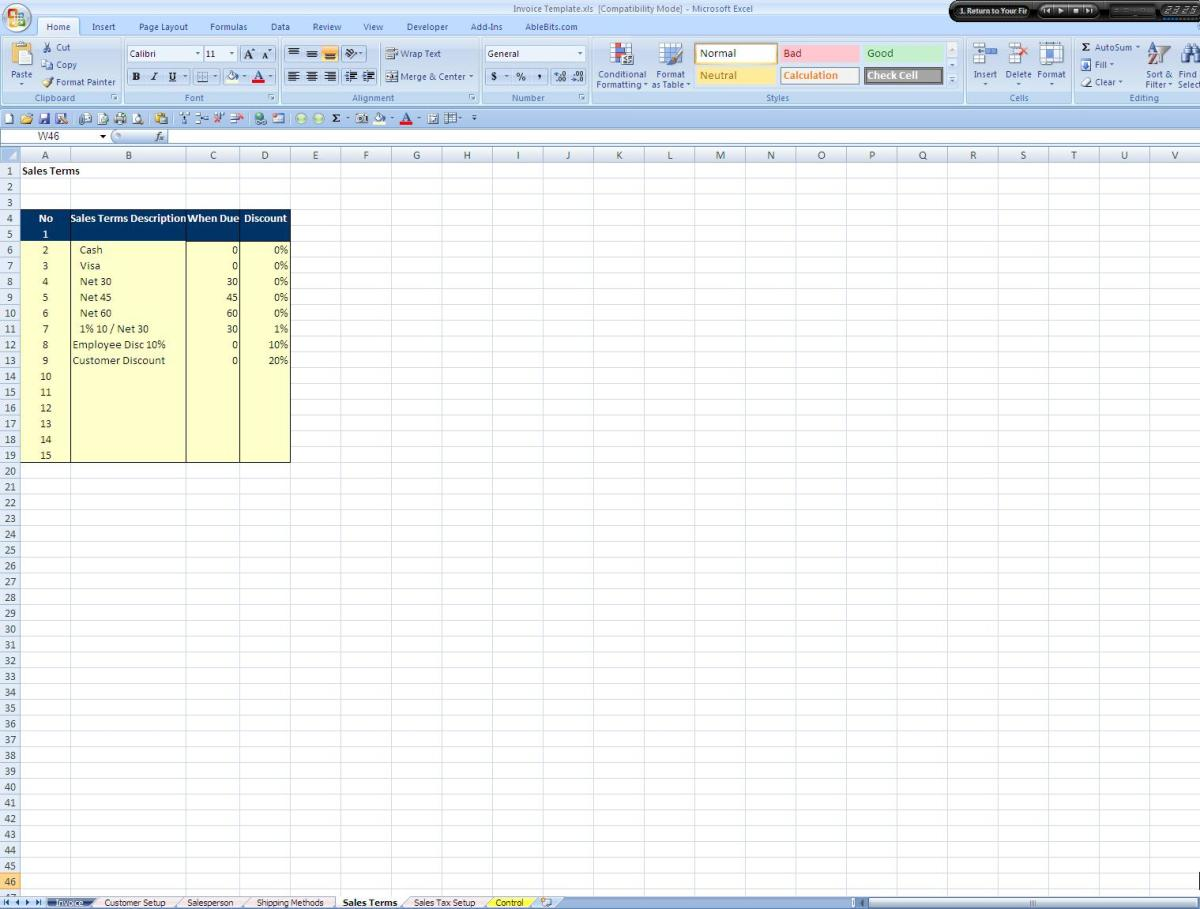 Screenshot of the Sales Terms Tab