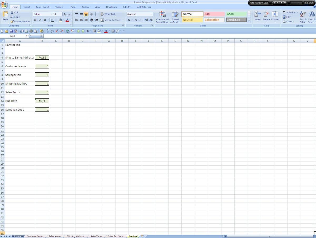 Screenshot of the Control Tab