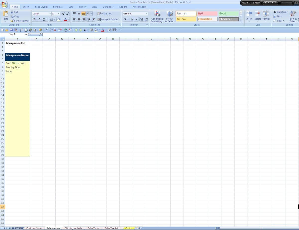 Screenshot of the Salesperson List Tab