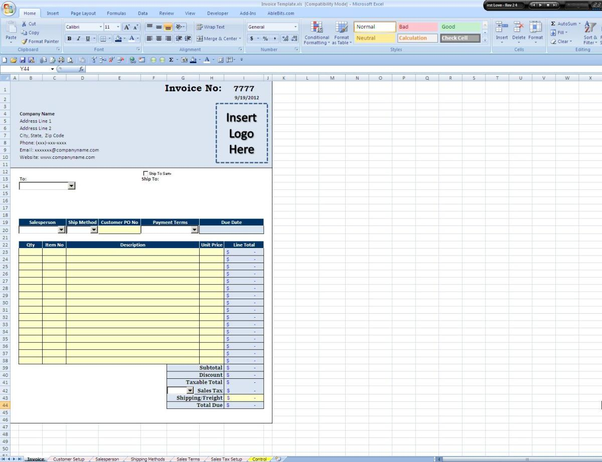 Screen Shot of the Invoice Tab