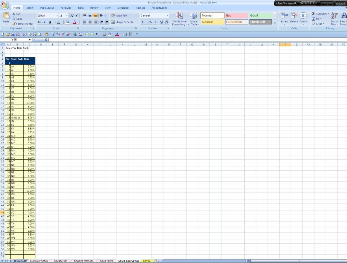 Screenshot of the Sales Tax Setup Tab