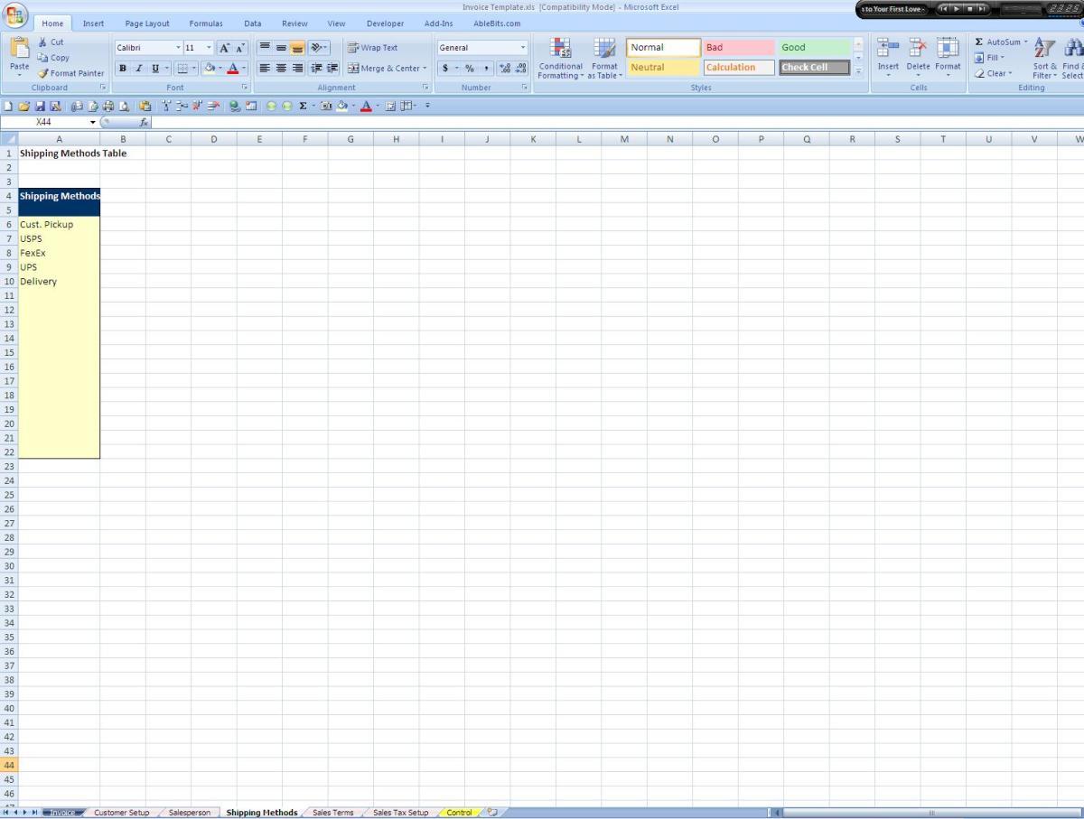 Screenshot of the Shipping Methods Tab