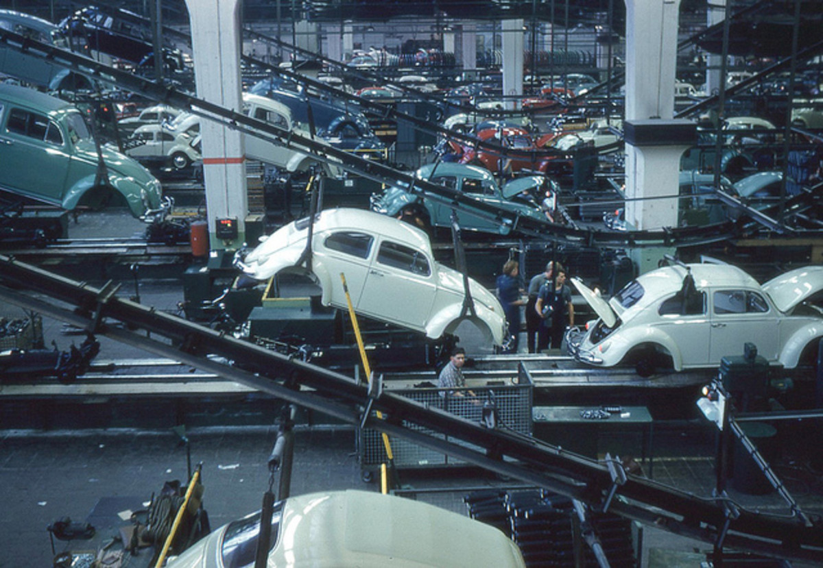 This assembly line made the original Volkswagen (VW) in 1960-1960, presumably without the cars catching on fire.