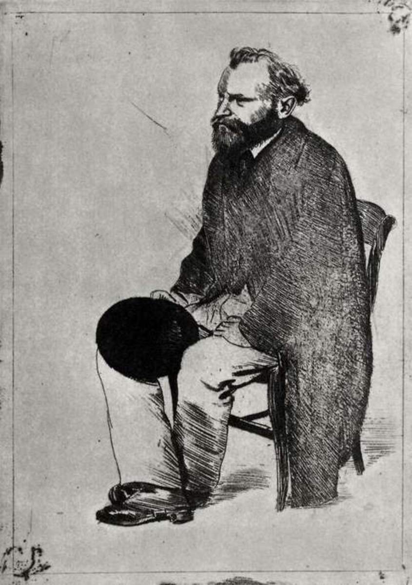 "This complete ""Etching of 'Portrait of Edouard Manet, Etude"" seated, turned to the left, is the rich, strong result of Degas's progressive elaboration of his subject."