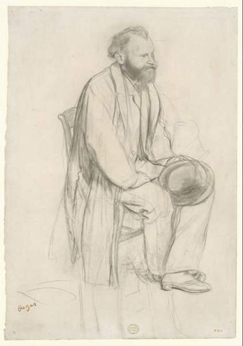 "Here, in this sketch in black chalk, the concept is worked out more fully as a ""Study for a portrait of Edouard Manet."" The elaboration progresses."