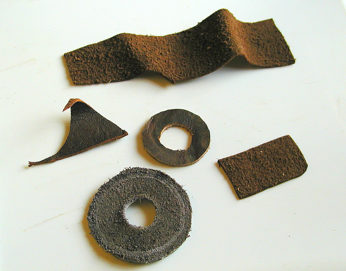 Assorted leather pieces which can be used for making seals