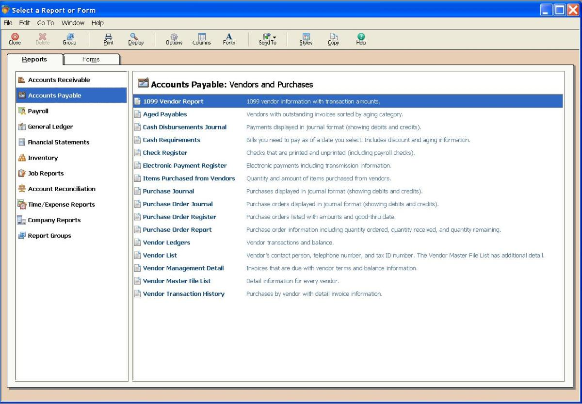 A/P Report Selection Screen - Peachtree Complete 2011
