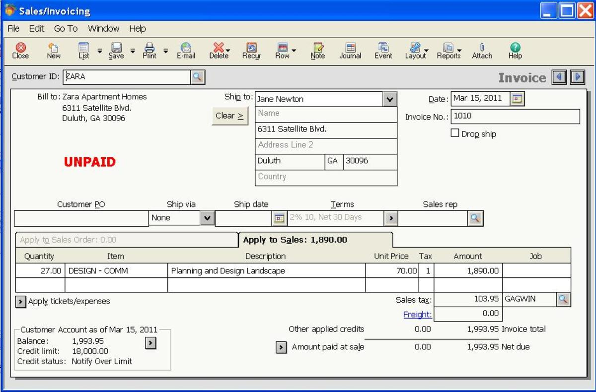 Invoice Entry Screen - Peachtree Complete 2011