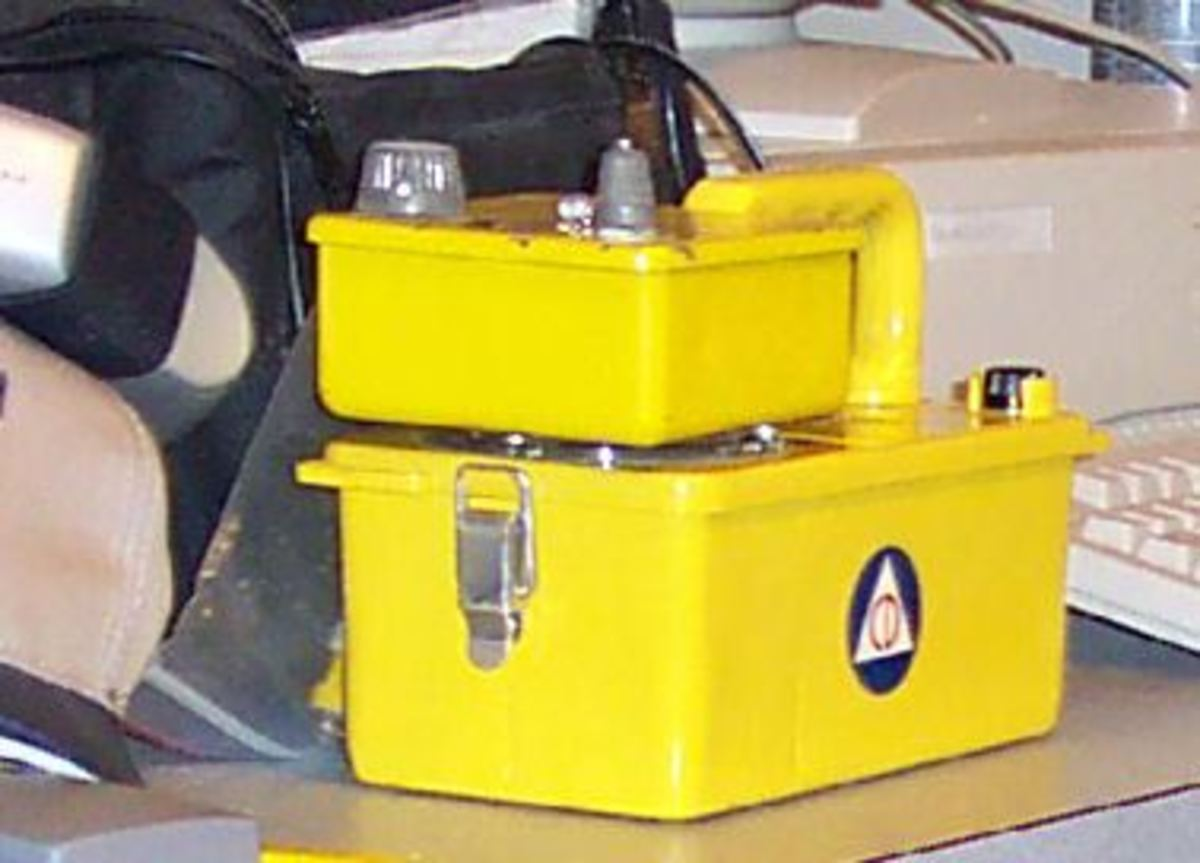 Safety signs in the workplace and safety device labeling like the symbol on this Geiger counter are determined by ANSI Z535 and related standards.