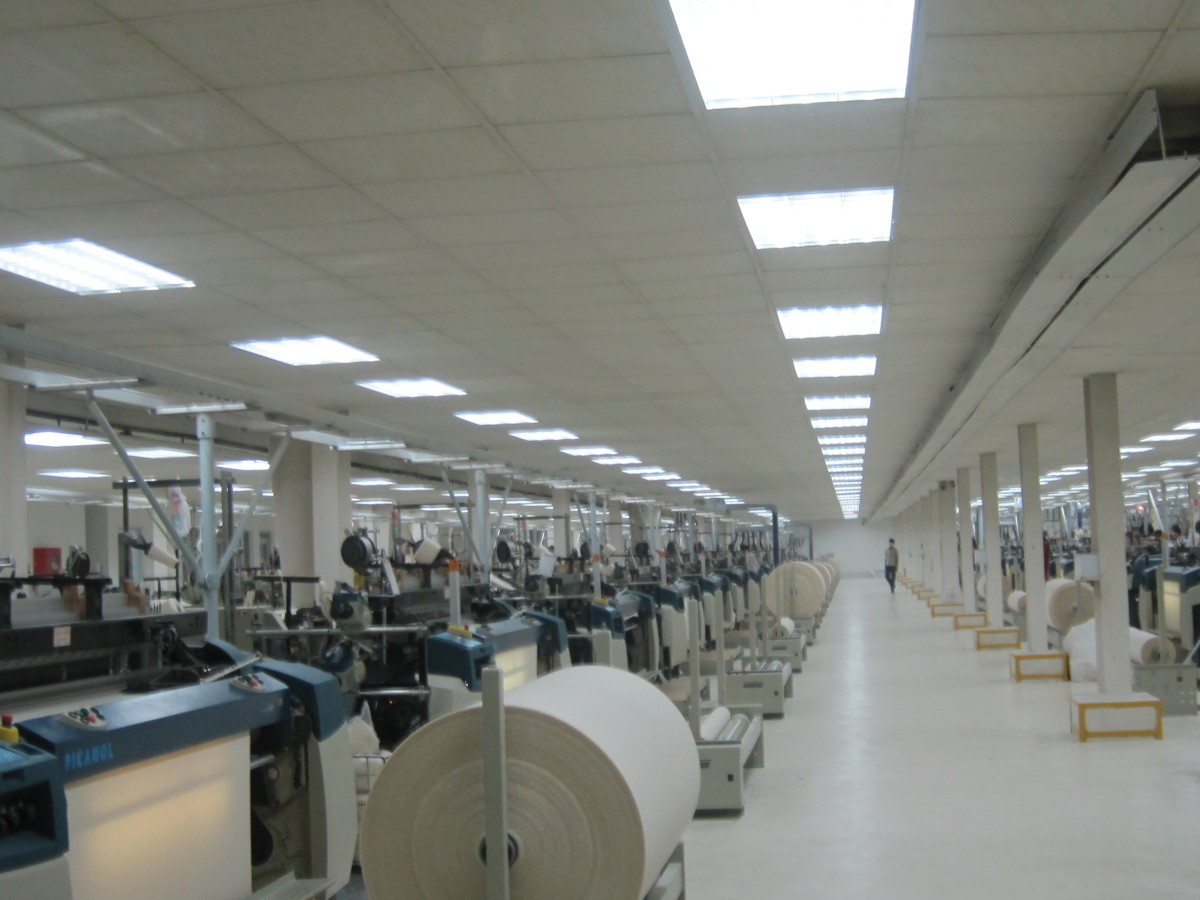 Fabric production floor (above). Fabric producers are suppliers for clothing manufacturers.