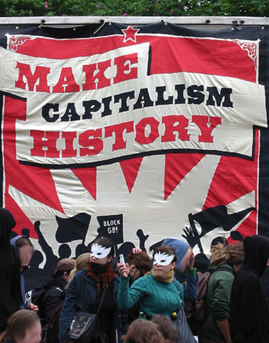 "Demonstrations against the G8 summit, Rostock, Germany, 2007: ""Make capitalism history."""