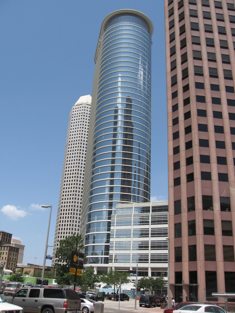 1500 Louisiana Street building, in Houston, TX. Built for Enron Corporation, whose execs are renowned perpetrators of one of the biggest business conspiracies ever. Never occupied by Enron, the building was purchased by Chevron.