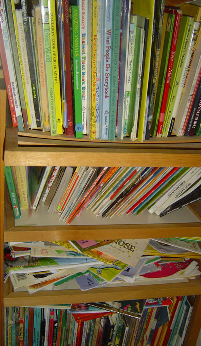We do like books, and we did spend money for some of these.  But most of them are gifts or on indefinite loan from relatives, who do have an interest in the children's education - they get to tell everyone how smart their family members are!