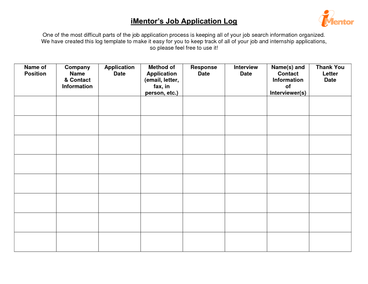 iMentor's Job Application Log.  This job search form is simpler, but may not include all the information you would like easily available when actually conducting a job search.