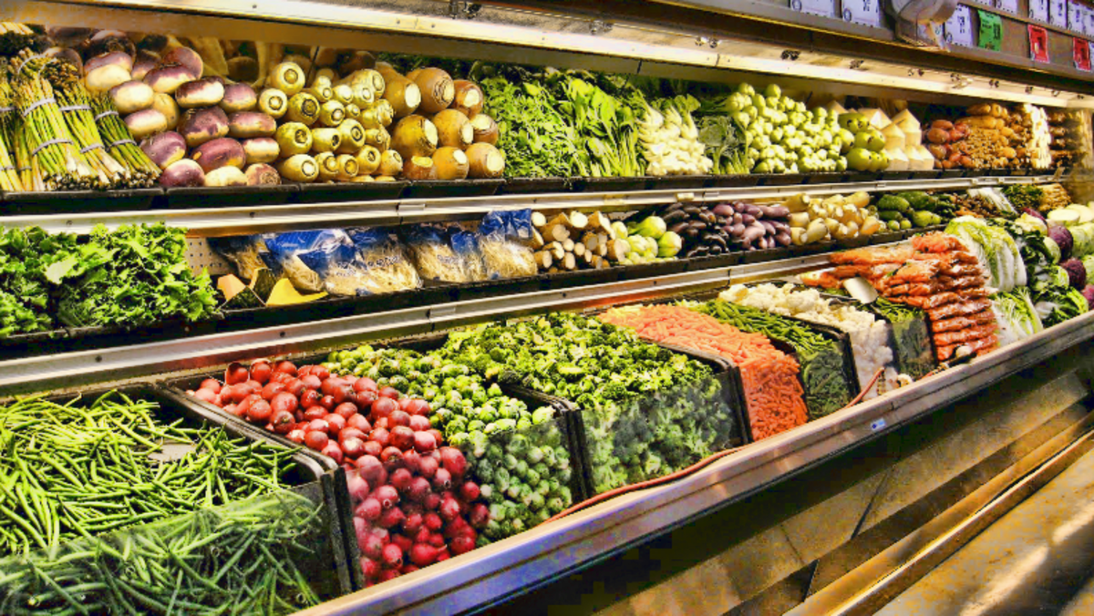 The produce section is often shaped like a half-circle.