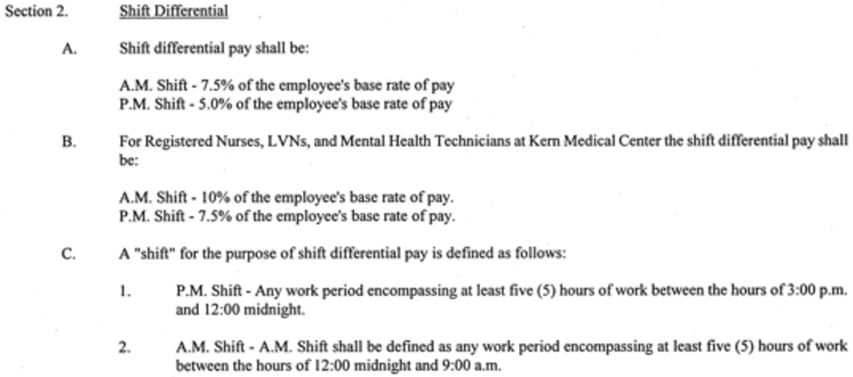 This is part of a public employee contract.  In this contract, employees earn 5% more when working the swing shift.  Nurses earn 7.5% on the afternoon shift.