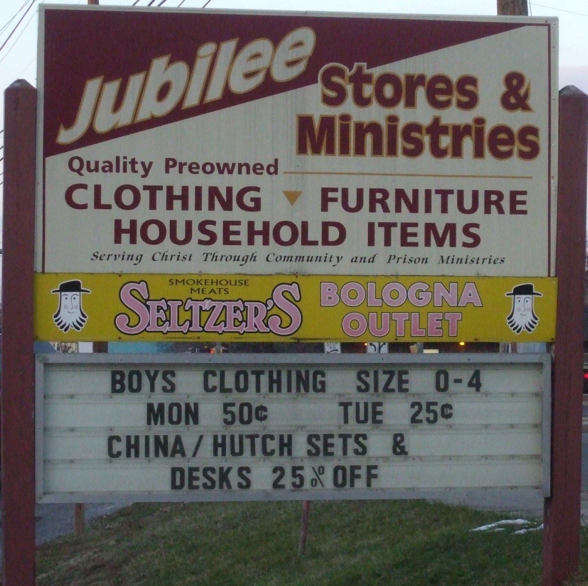 The sign outside the main Jubilee thrift store in Lebanon city.