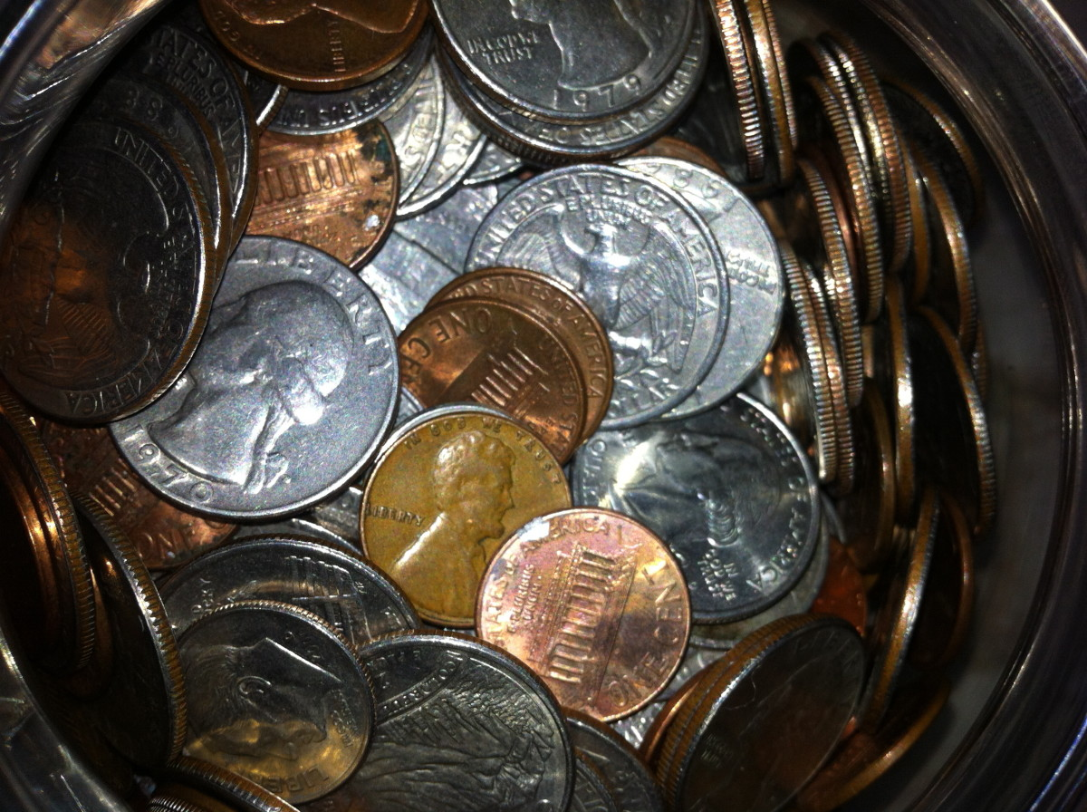 Not just pennies are in this jar, but larger currencies such as dimes and quarters.