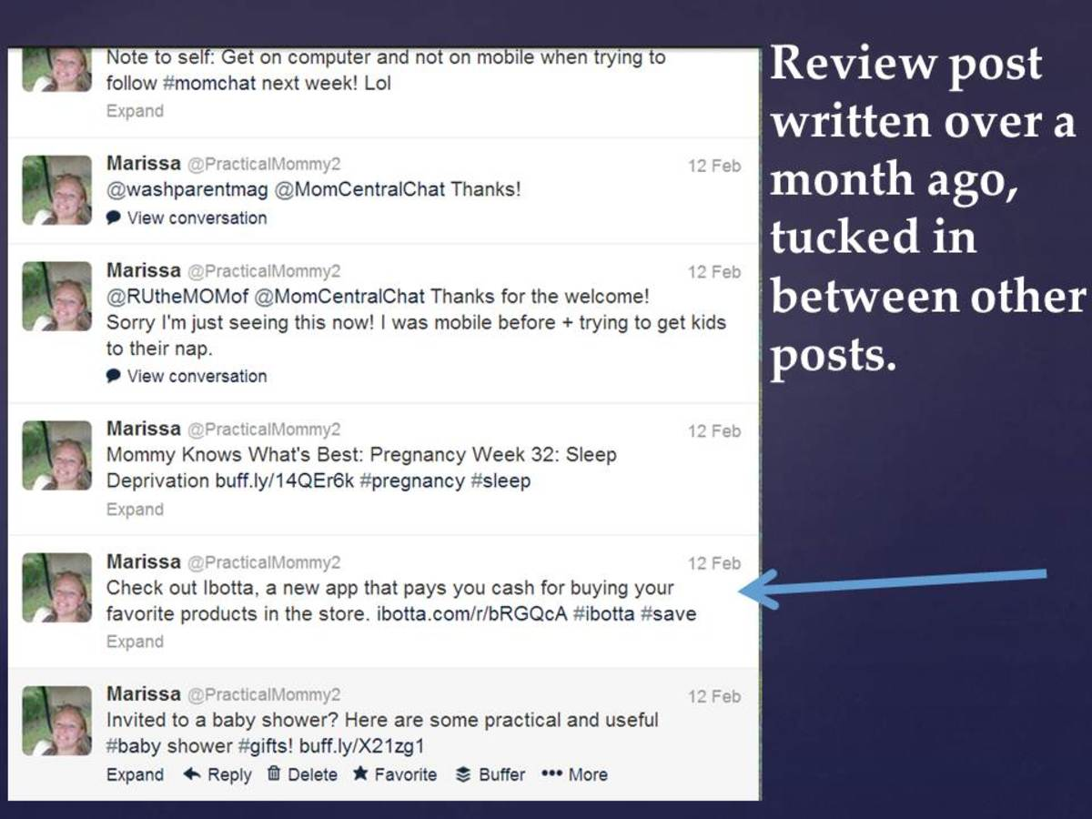 Example of sharing a review blog post on social media sites.
