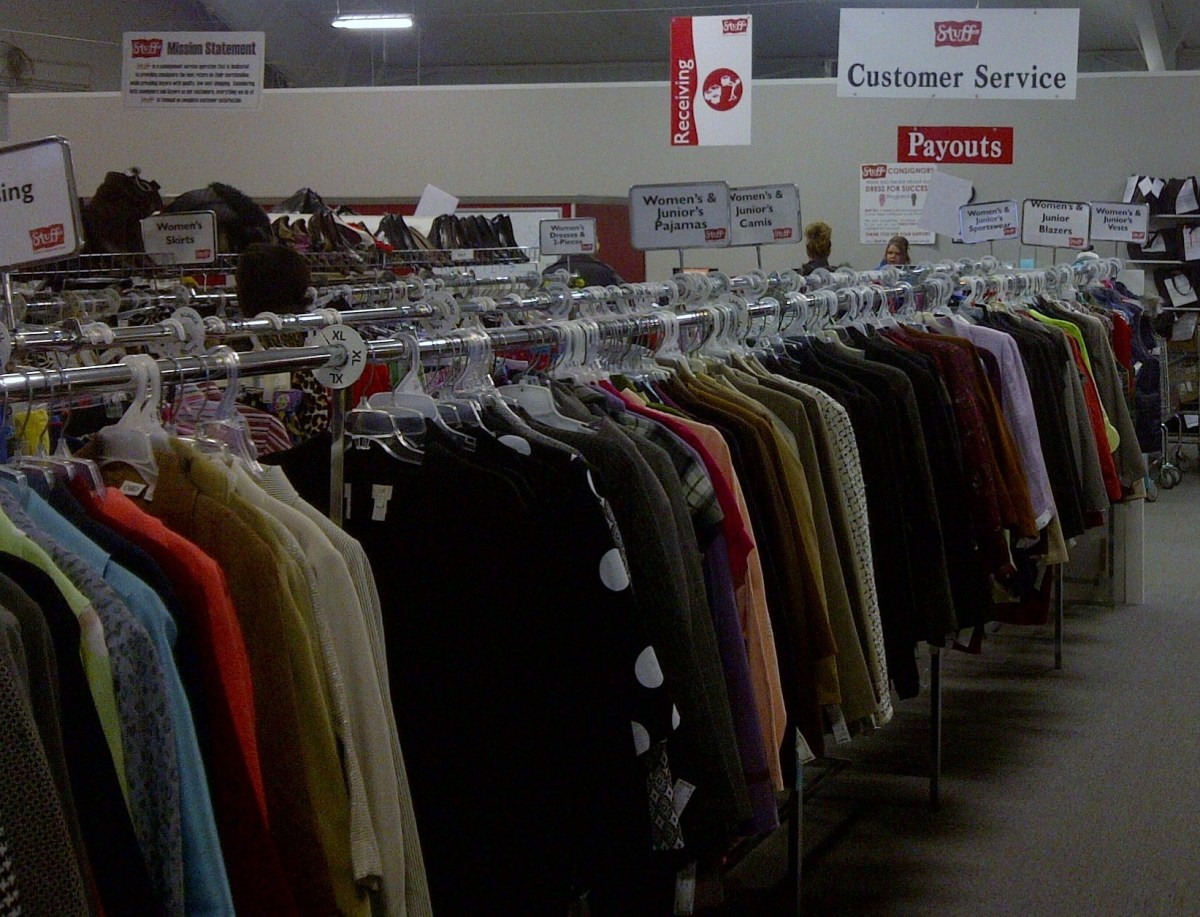 Clothes for sale at a thrift shop- many items are under $5