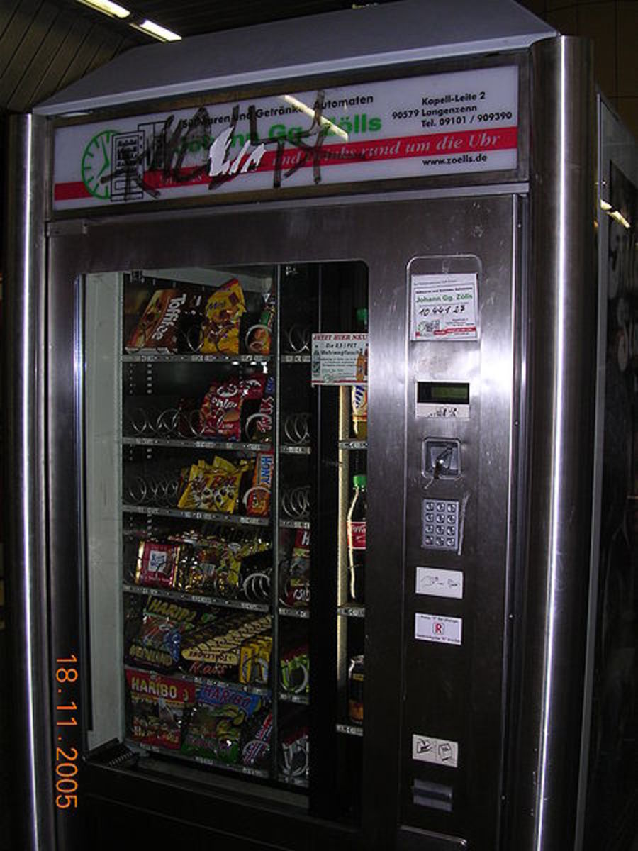 Avoid vending machines at work, they often cost a lot more money than the same item in the stores.