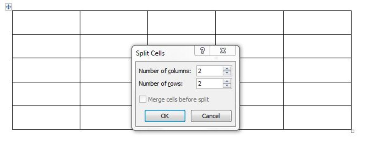 Choose the number of rows or columns you need to split it into