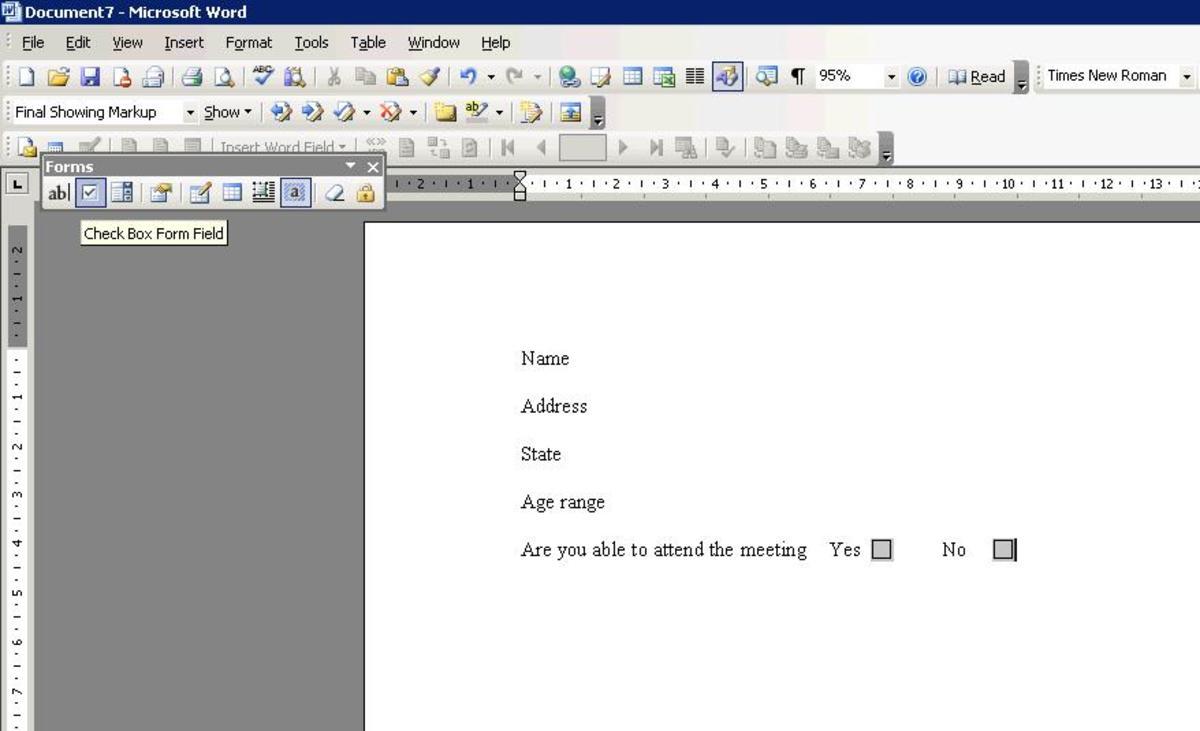 Adding check box to a form