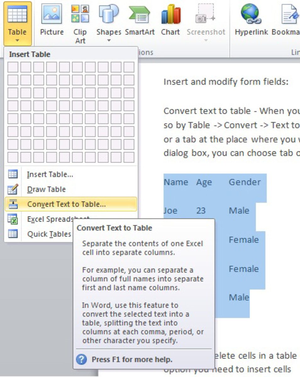 Select the text that you wish to convert to table, then click on table- convert text to table (Microsoft word 2010) will upload word 2003 screenshot soon