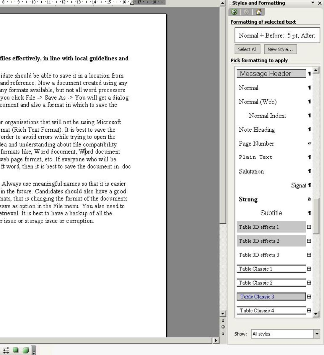 If you want to change the style for a paragraph, click anywhere inside that paragraph, then click on the style that you wish to apply