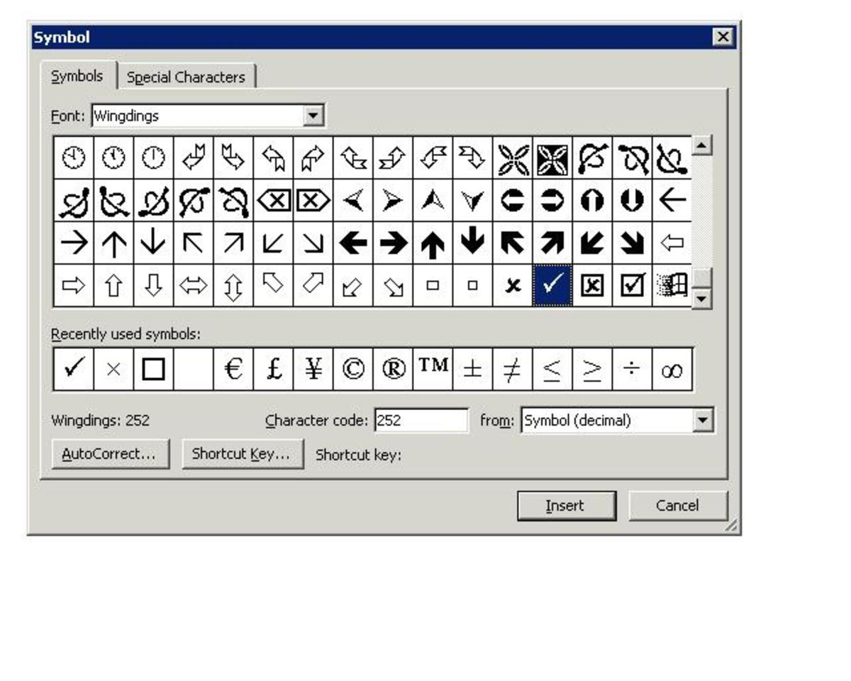 "In the dialog box that opens, choose the symbol that you wish to insert and then click on ""Insert"""