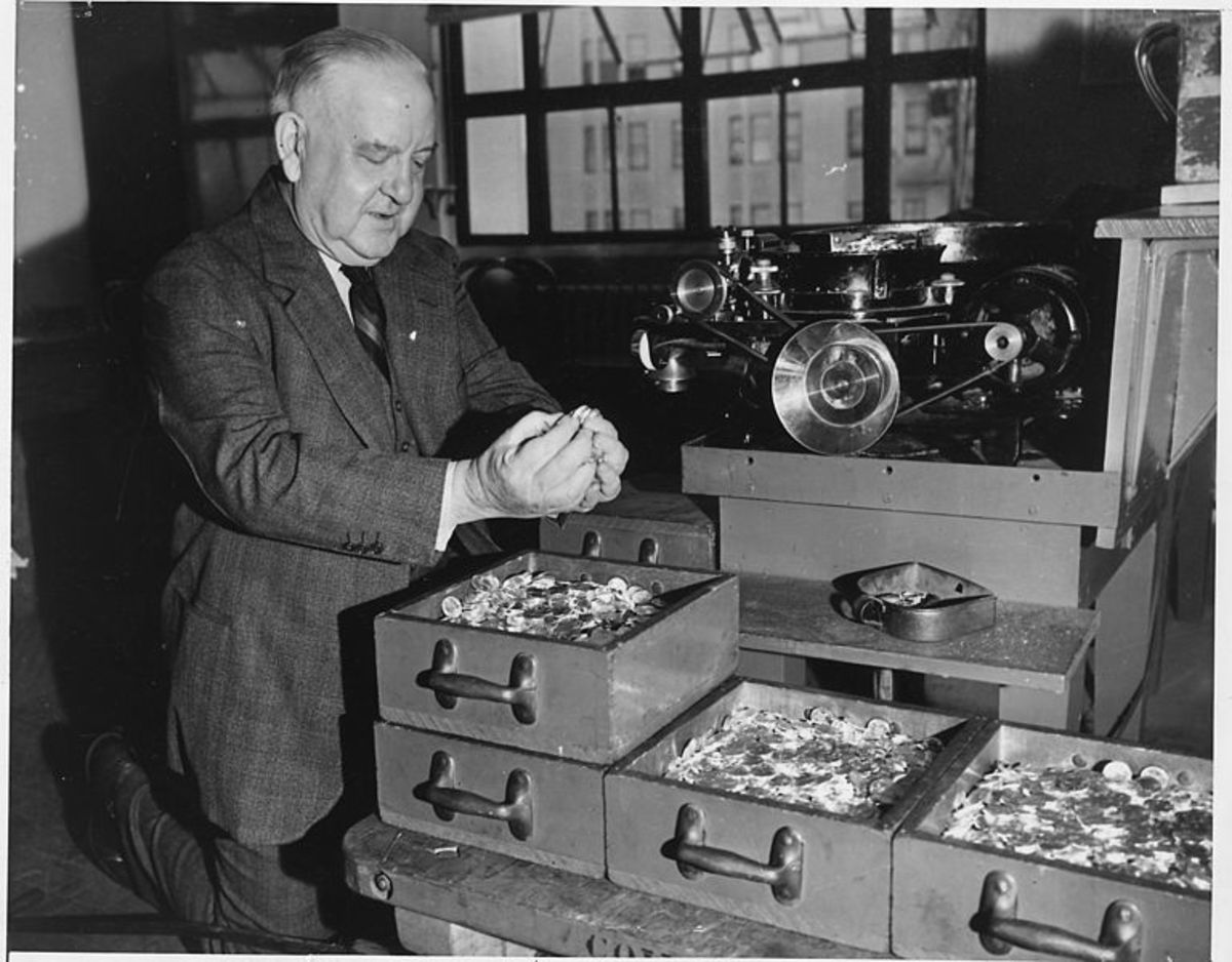 A U.S. mint worker at the San Francisco mint