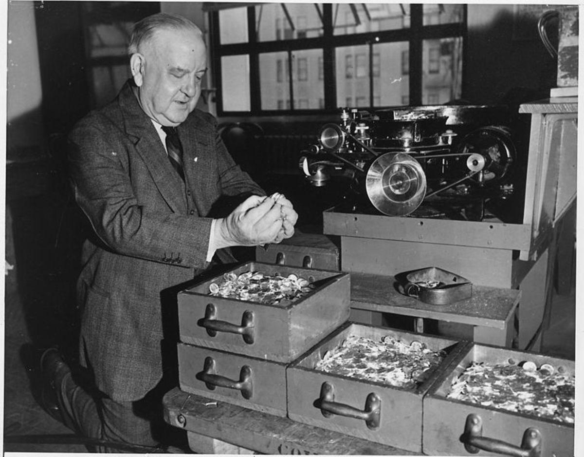 A U.S. mint worker at the San Francisco mint