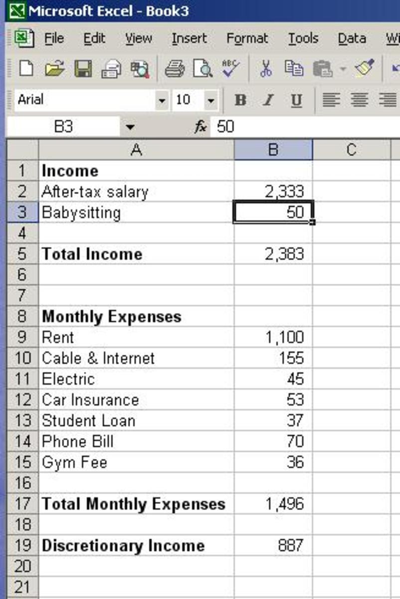 A simple budget can be made in a spreadsheet and should look something like this.