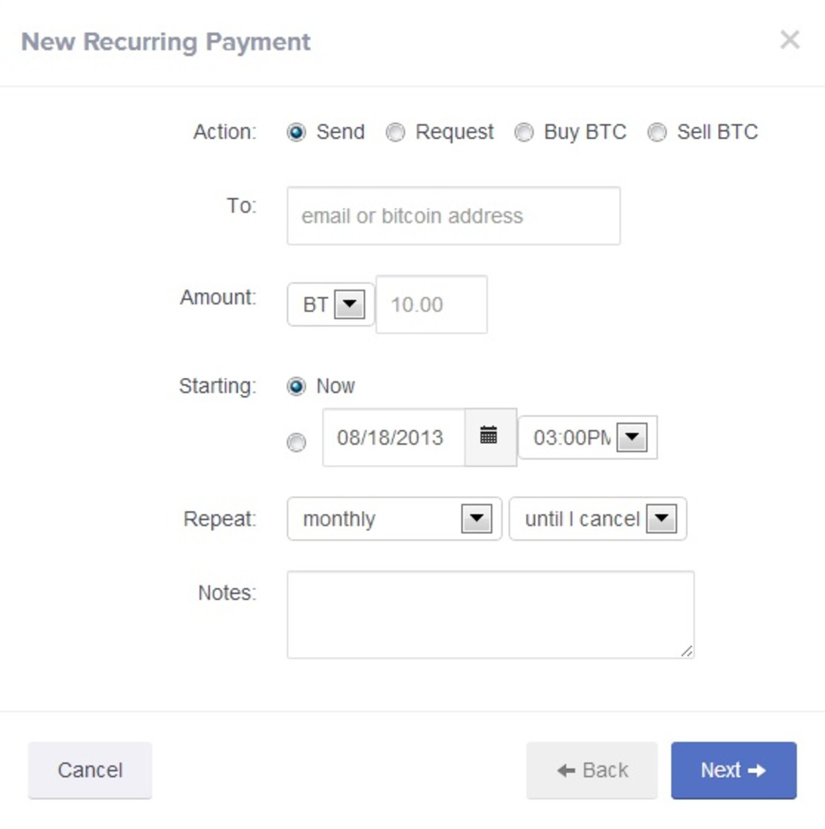 Coinbase recurring payments interface.