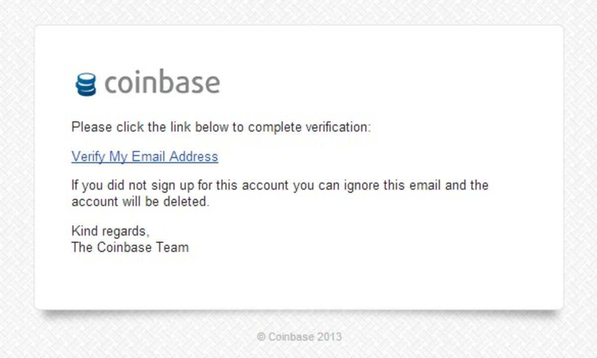 Coinbase Email Verification Request