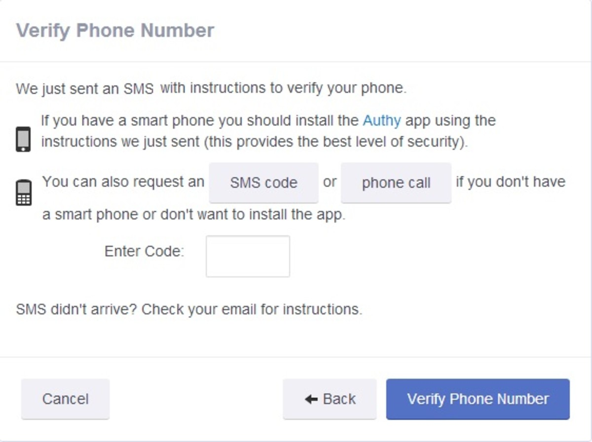 SMS verification interface.