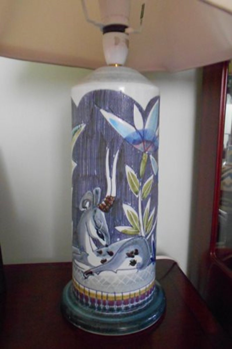 This beautiful Tilgman's Art Pottery lamp base is very 'Art Deco' with its Deer motif. I love it!