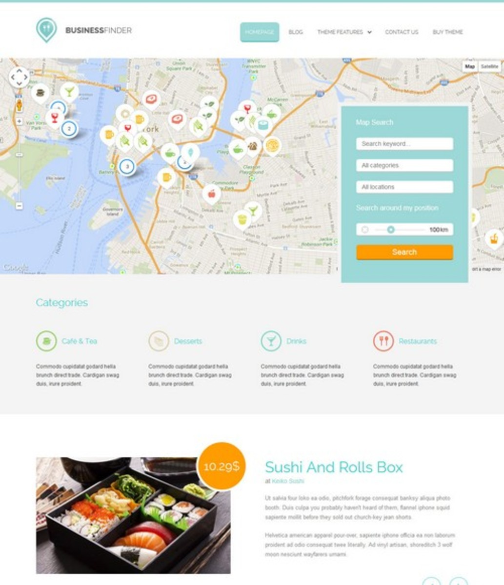 The Directory Business Finder Wordpress theme.