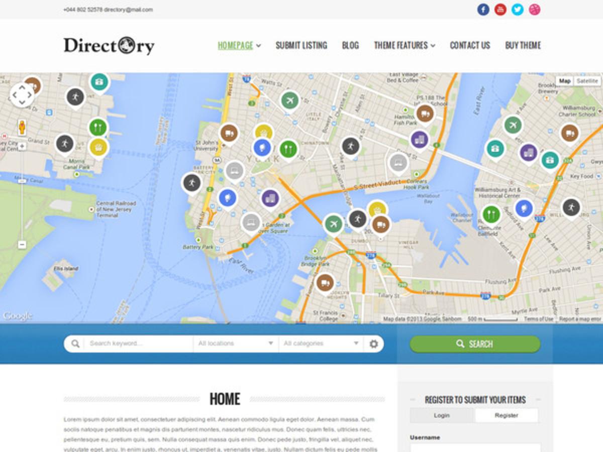 The Directory Portal Wordpress theme.