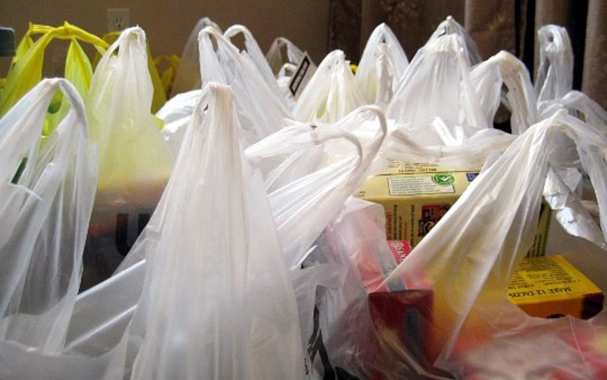 Sorting with plastic bags.